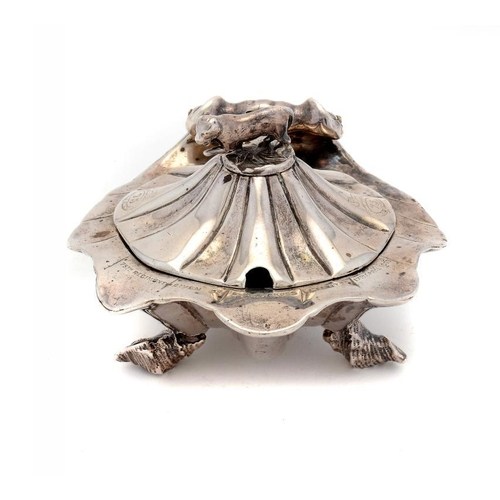 525 - 75TH (STIRLINGSHIRE) REGIMENT OF FOOT.   A VICTORIAN SILVER SHELL SHAPED MUSTARD POT the lid with ti...
