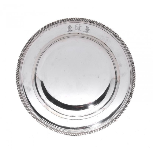 529 - A WILLIAM IV SILVER GADROONED SOUP PLATE crested, 24cm diam, by Mark & Richard Sibley, London 1836, ...