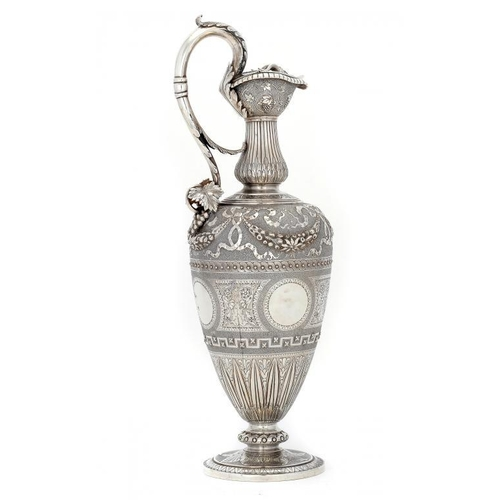 535 - A SCOTTISH VICTORIAN SILVER CLARET JUG chased and engraved with festooons and scrolling foliage betw...
