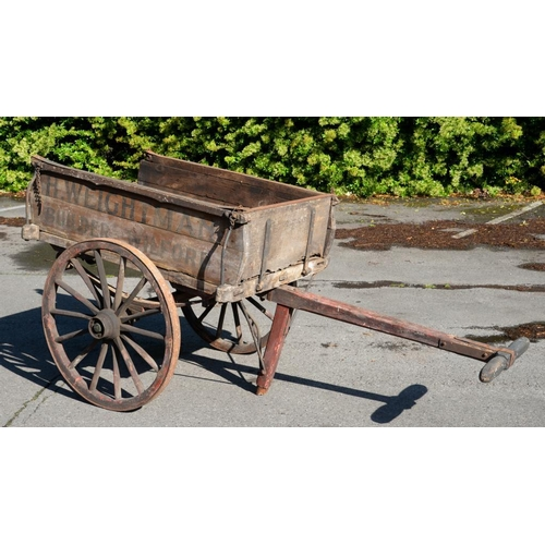 838 - NOTTINGHAM.  A VICTORIAN OR EDWARDIAN BUILDER'S HANDCART, C1900 of wood and iron, the sides painted ...