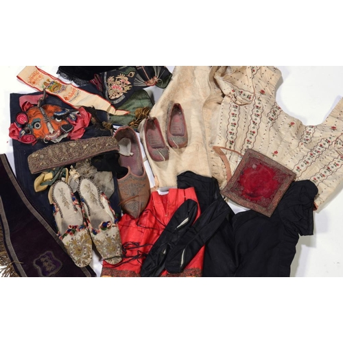95 - <p>VARIOUS ANTIQUE AND LATER COSTUME AND TEXTILES INCLUDING A GENTLEMAN'S IVORY BROCADE WAISTCOAT IN...