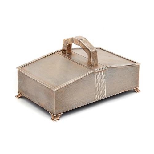 575 - <p>A GEORGE VI SILVER TWIN LIDDED CIGARETTE BOX  engine turned, cedar lined, 20cm w, by Morris & Bak...