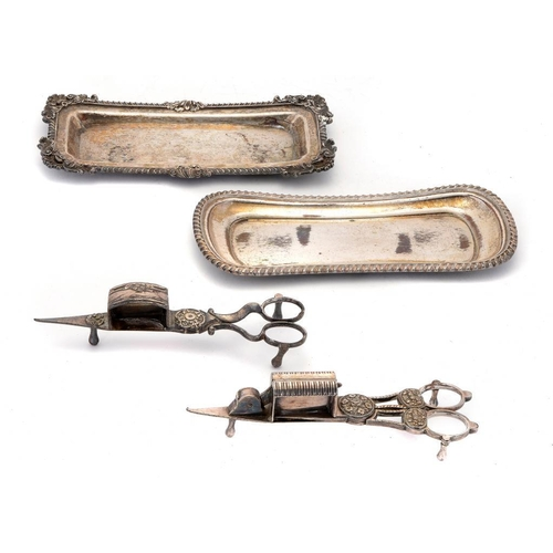 608 - <p>A PAIR OF CLOSE PLATED MECHANICAL WICK TRIMMERS, C1820 with spring operated blade, 17.5cm l, anot...