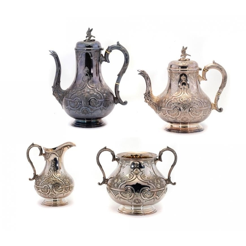 609 - <p>A VICTORIAN EPNS BALUSTER TEA AND COFFEE SERVICE, C1880 coffee pot 29cm h, by Fenton Bros (4)</p>...