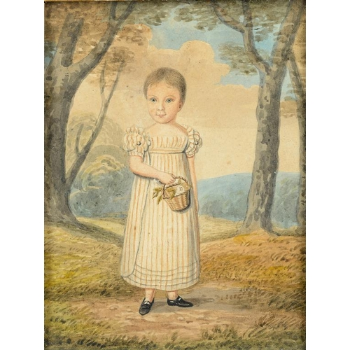 625 - <p>ENGLISH NAIVE ARTIST, EARLY 19TH CENTURY PORTRAIT OF A YOUNG BOY TRADITIONALLY IDENTIFIED AS JOHN...