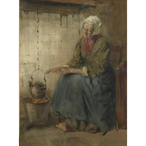638 - <p>��ANTON ABRAHAM VAN ANROOY (1870-1949) SITTING BY THE FIRE  signed, watercolour, 37 x 27cm</p><p>...