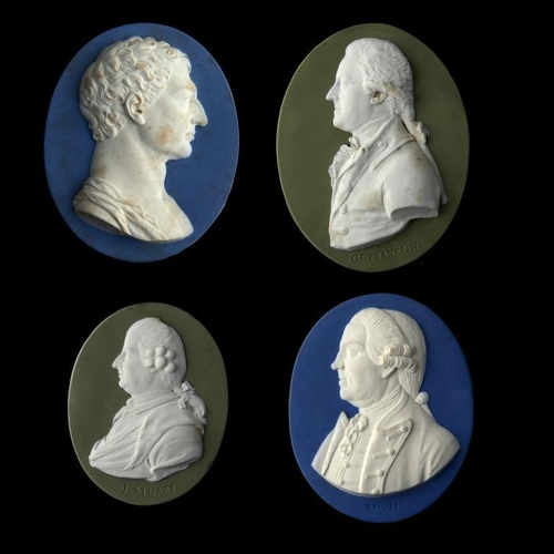 65 - <p>FOUR WEDGWOOD JASPER PORTRAIT MEDALLIONS, 18TH CENTURY comprising George Washington copied from a...