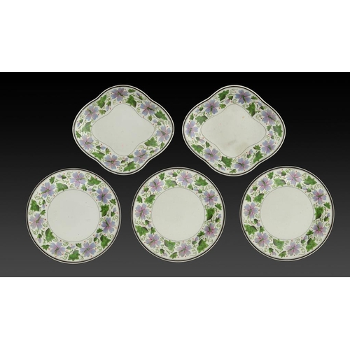 66 - <p>A SET OF THREE WEDGWOOD QUEENSWARE PLATES AND A PAIR OF DISHES, C1820 painted with floral borders...