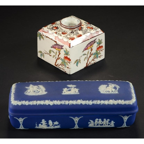 72 - <p>A WEDGWOOD DARK BLUE JASPER DIP TOILET BOX AND COVER, C1880  18cm w and a Wedgwood Queen's Ware i...