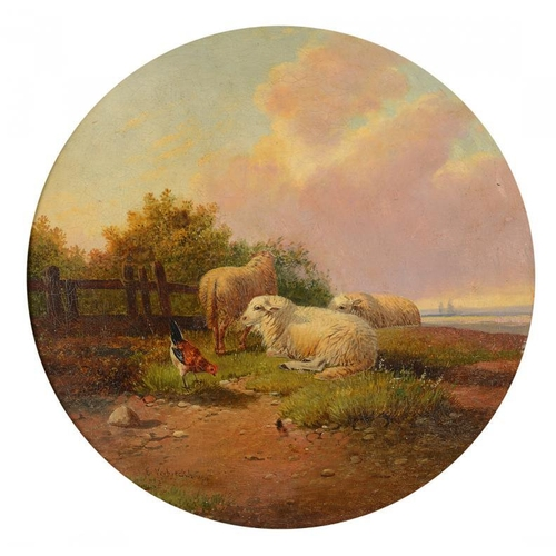 736 - <p>ENGLISH SCHOOL, 19TH CENTURY SHEEP AND A COCKEREL ON A HILLOCK bears signature, oil on canvas, 34...