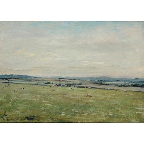 742 - <p>GEORGE OGILVY REID, RSA (1851-1928) A PASTORAL  signed, oil on canvas, 24.5 x 34.5cm</p><p></p>...