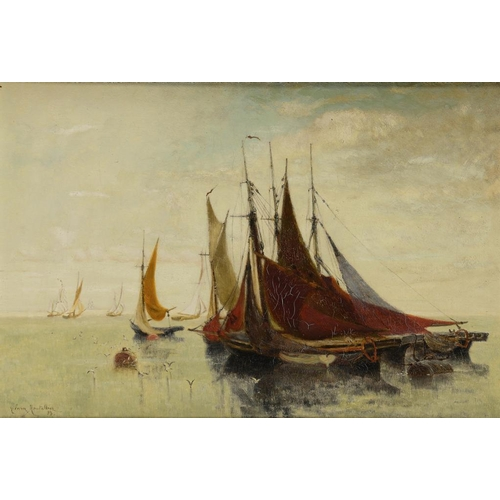 743 - <p>CLARA FREDERICA MONTALBA, RWS (1840-1929) FISHING BOATS AT DAWN  signed and dated '83, oil on can...