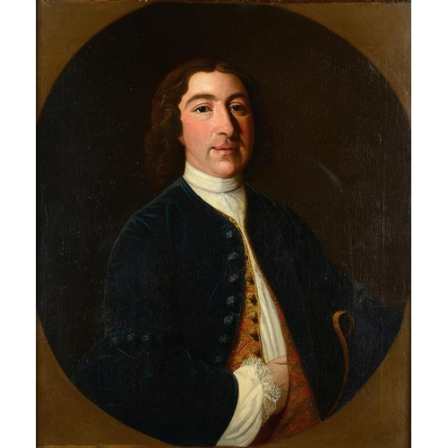 744 - <p>SCOTTISH SCHOOL, 18TH CENTURY  PORTRAIT OF A MAN  bust length in a blue coat and embroidered wais...