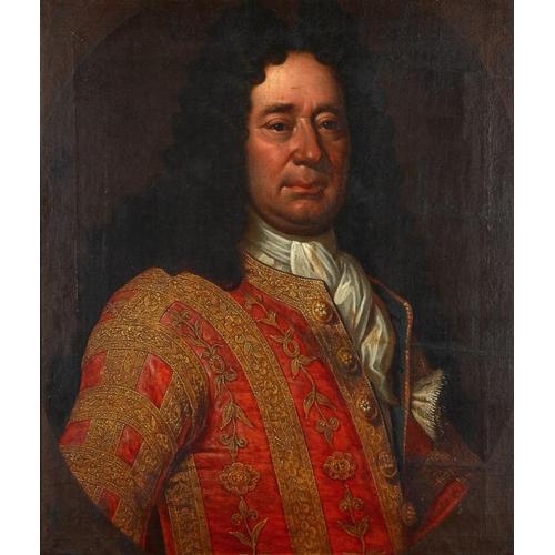 745 - <p>RICHARD WAITT (D 1732) PORTRAIT OF A   NOBLEMAN  bust length in richly embroidered scarlet coat, ...