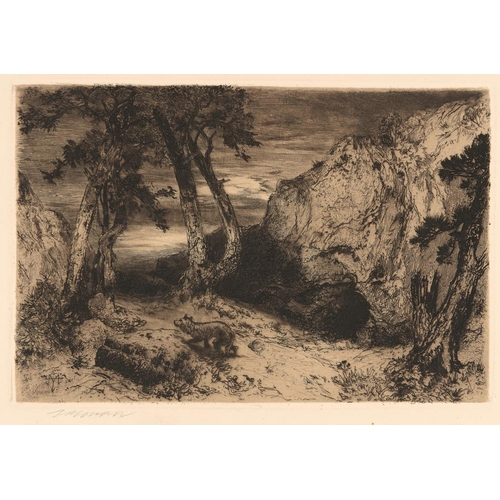 753 - <p>THOMAS  MORAN (1836-1925) TWILIGHT IN ARIZONA, 1880 etching on wove   with full margins, signed i...