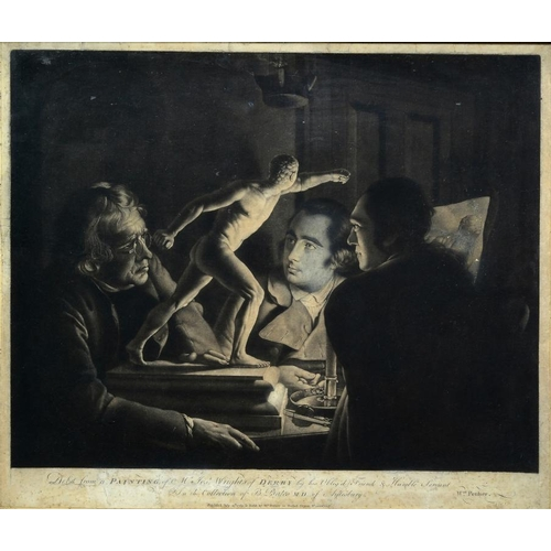 754 - <p>WILLIAM PETHER (1738-1821) AFTER JOSEPH WRIGHT OF DERBY, ARA (1934-1797) THREE PERSONS VIEWING TH...