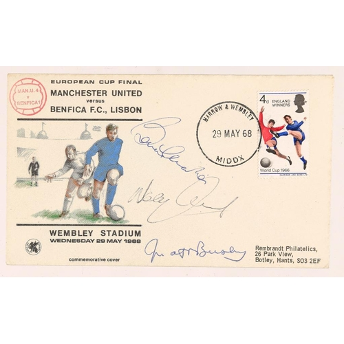 765 - <p>SOCCER.  EUROPEAN CUP FINAL GREAT BRITIAN COMMEMORATIVE FIRST DAY COVER signed by Sir Matt Busby,...