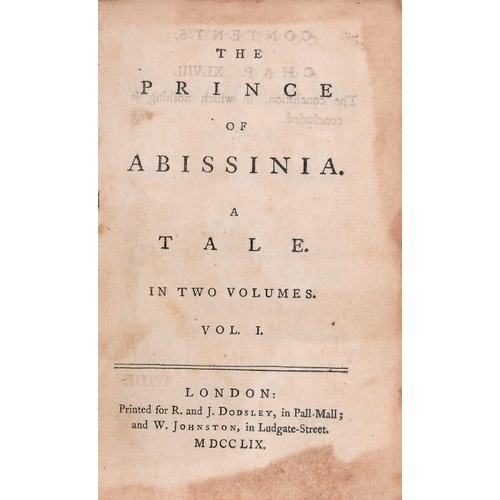 807 - <p>[JOHNSON (SAMUEL)] THE PRINCE OF ABISSINIA A TALE, 1759  two vols, 8vo, first edition, 159 and 16...