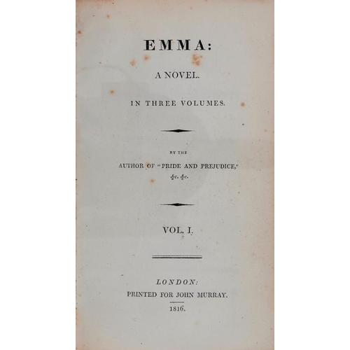 828 - <p>[AUSTEN (JANE)] EMMA A NOVEL IN THREE VOLUMES BY THE AUTHOR OF