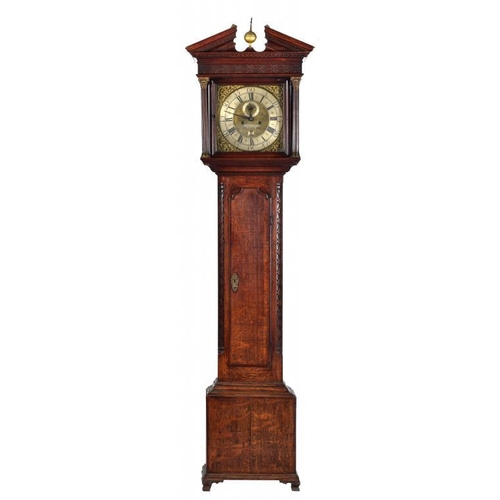 866 - <p>AN OAK EIGHT DAY LONGCASE CLOCK SAM WHALLEY,  MANCHESTER, C1770 31cm brass dial with  matted cent...