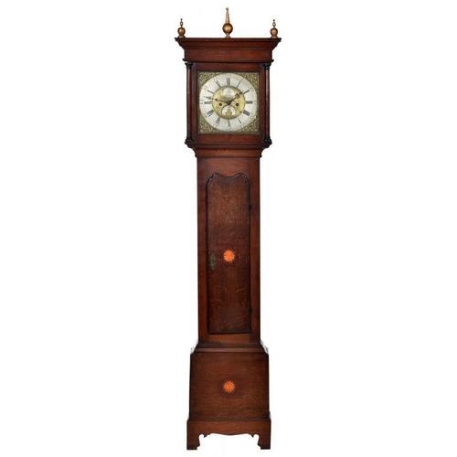 868 - <p>AN OAK EIGHT DAY LONGCASE CLOCK, ISAAC BOOT, SUTTON [IN ASHFIELD] C1760-70 the 12inch brass dial ...