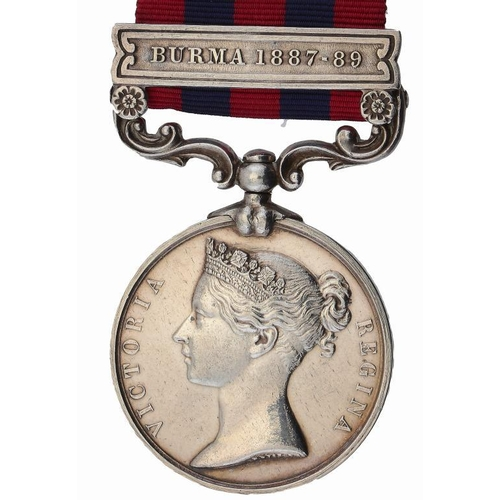 872 - <p>INDIA GENERAL SERVICE MEDAL,  one clasp Burma1887-89  4219 PTE J HENRY 4TH BN RIF BRIG</p>...