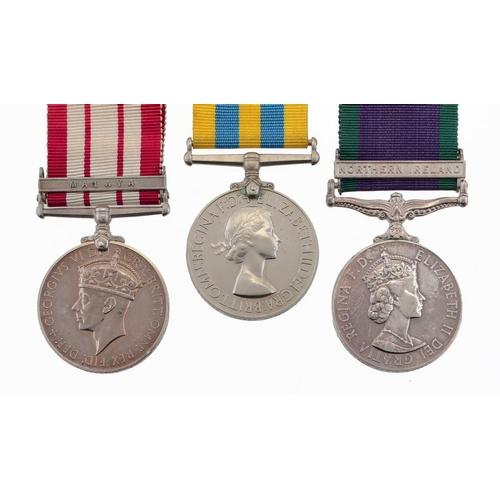 877 - <p>KOREA MEDAL P/KX 863703 W ESSEX  A/SM RN, Naval General Service Medal, George VI, one clasp Malay...