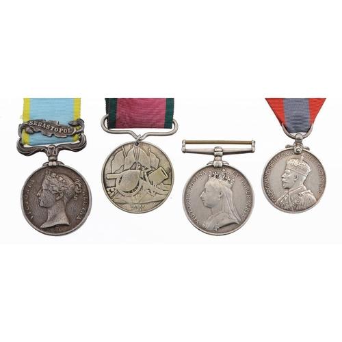878 - <p>CRIMEA MEDAL  one clasp Sebastopol, un-named, Turkish Crimea Medal  British issue, suspender repl...