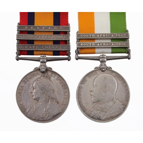 880 - <p>ANGLO BOER WAR PAIR Queen's South Africa Medal three clasps, Cape Colony, Orange Free State and B...