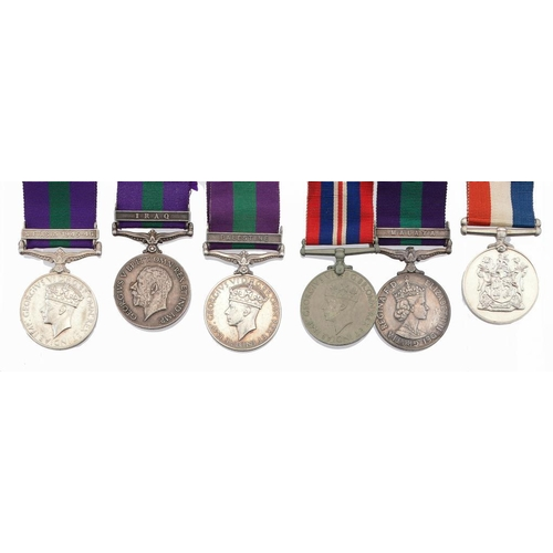 881 - <p>GENERAL SERVICE MEDAL   one clasp Iraq, 3045967 PTE A THOMPSON R SCOTS ditto ditto one clasp S E ...