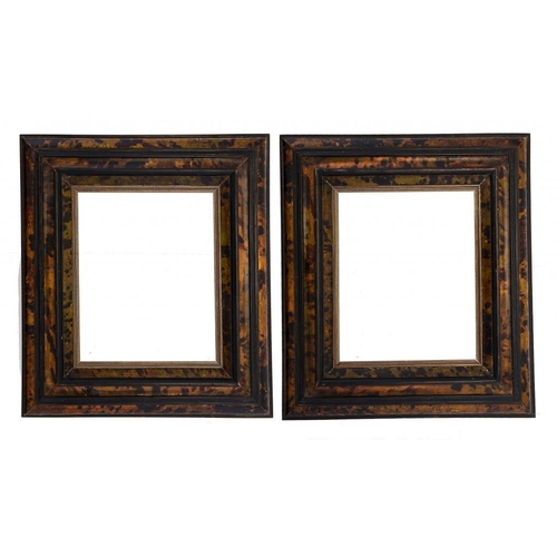 935 - <p>A PAIR OF EBONISED WOOD AND TURTLE SHELL PICTURE FRAMES,  EARLY 19TH C aperture (excluding recent...