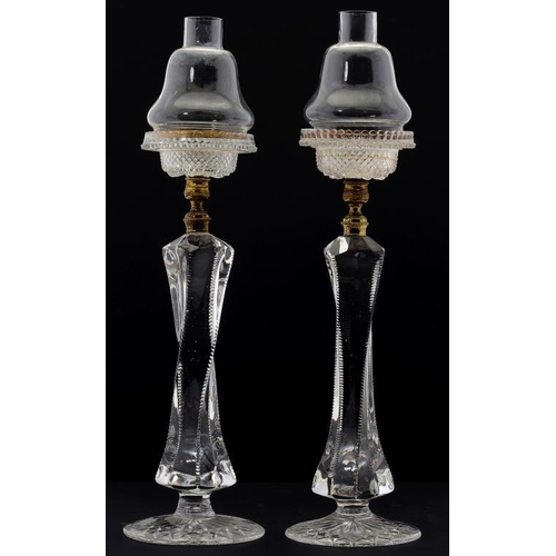 952 - <p>A PAIR OF CLARKE'S PATENT CRICKLITES, C1880  the moulded glass light with pear shaped shade with ...