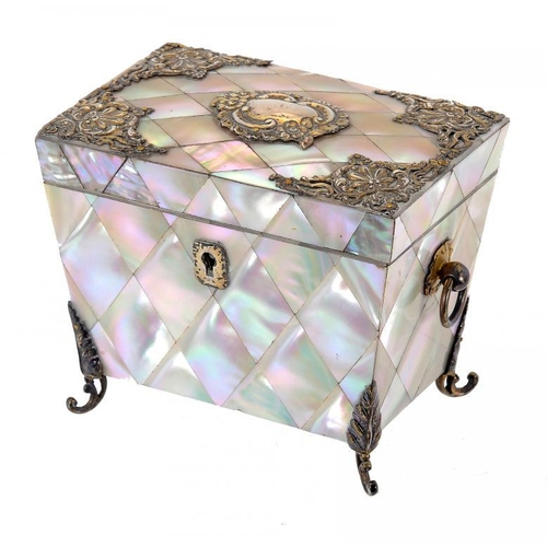 986 - <p>A VICTORIAN EPNS MOUNTED MOTHER OF PEARL TEA CADDY, LATE 19TH C of sarcophagus shape, the interio...
