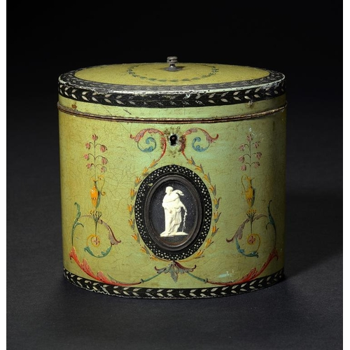 987 - <p>A GEORGE III POLYCHROME DECORATED   PAPIER M�CH� TEA CADDY ATTRIBUTED TO HENRY CLAY, C1780 inset ...