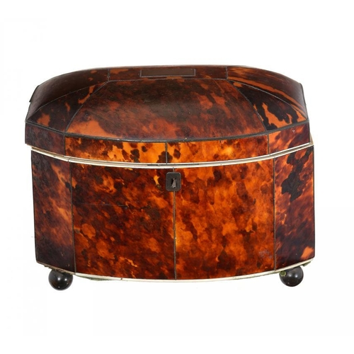 988 - <p>A REGENCY TORTOISESHELL AND IVORY TEA CADDY, C1820-40  of bow fronted form with domed lid and bra...