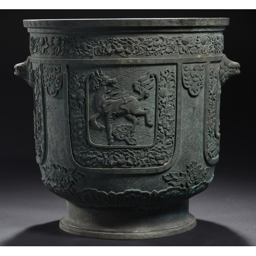 189 - <p>A CHINESE BRONZE JARDINIERE, QING DYNASTY, 19TH C cast and very finely chiselled with panels of  ...