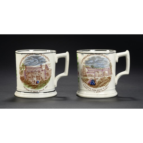 26 - <p>A PAIR OF YORKSHIRE PEARLWARE SHEFFIELD FLOOD COMMEMORATIVE MUGS, DENABY POTTERY, ROTHERHAM, C186...