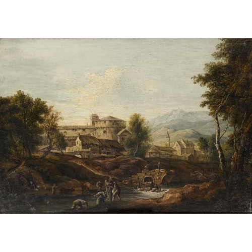 605 - ITALIAN SCHOOL, EARLY 19TH C  A NORTH ITALIAN LANDSCAPE  with peasants netting in the foreground, oi...