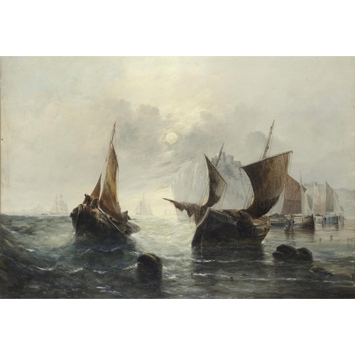 610 - GEORGE KNIGHT (FL 1872-1892) THE FISHING FLEET AT DAWN  signed and dated '81, oil on canvas, 39 x 54...