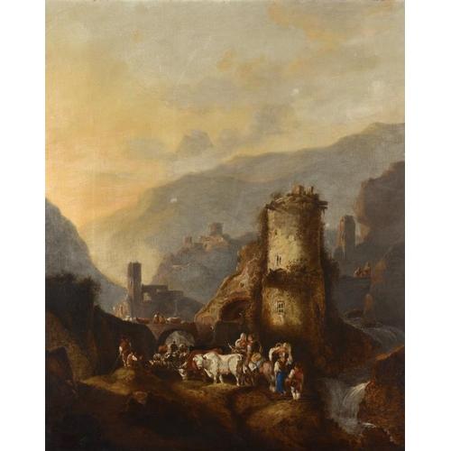 611 - FOLLOWER OF NICOLAES PIETERSZ  BERCHEM MOUNTAINOUS LANDSCAPE WITH PEASANTS  oil on canvas, 82 x 66cm...