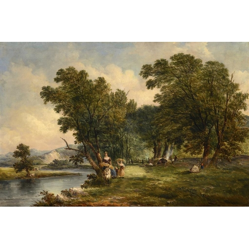 613 - ALFRED VICKERS (1786-1868) THE BANKS OF THE CONWAY  signature, date 1855 and title transcribed verso...