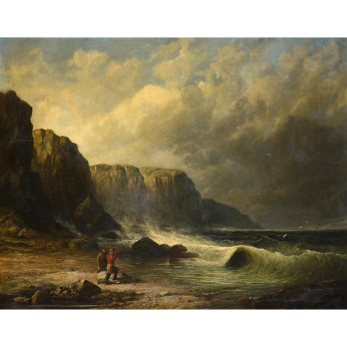 614 - ENGLISH MARINE SCHOOL, 19TH CENTURY  STORM ON THE COAST indistinctly signed with initials, oil on ca...