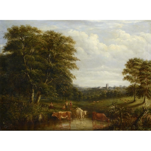 618 - ENGLISH SCHOOL, 19TH CENTURY WOODED LANDSCAPE WITH CATTLE WATERING oil on canvas, 64 x 87cm...