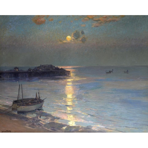 620 - JULIUS OLSSON, RA, RBA (1864-1942) THE PIER-A NOCTURNE signed, oil on canvas, 100 x 125cm, in the or...