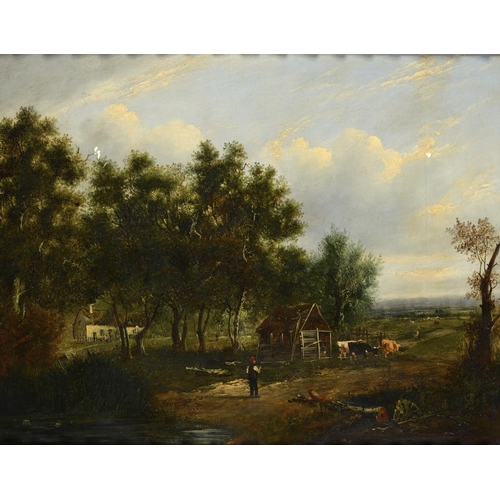 622 - ATTRIBUTED TO PATRICK NASMYTH (1786-1831) WOODED LANDSCAPE WITH FIGURES AND LIVESTOCK oil on panel, ...