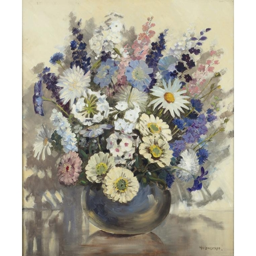623 - ��WILLIAM FRANCIS LONGSTAFF (1879-1953) FLOWERPIECE; FLOWERPIECE  two, both signed, oil on canvas, 4...