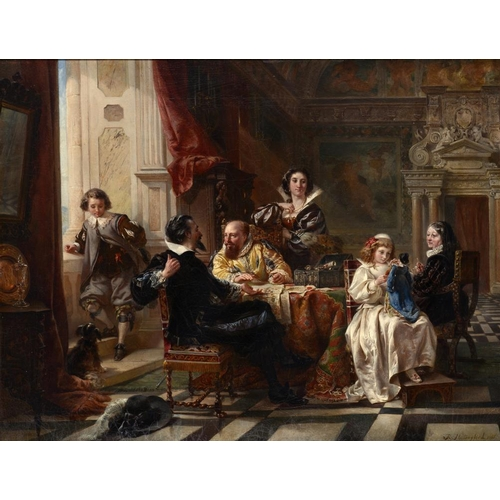 624 - ROBERT ALEXANDER HILLINGFORD (1828-1893) THE FAMILY MEETING signed and dated 1865, oil on canvas, 55...