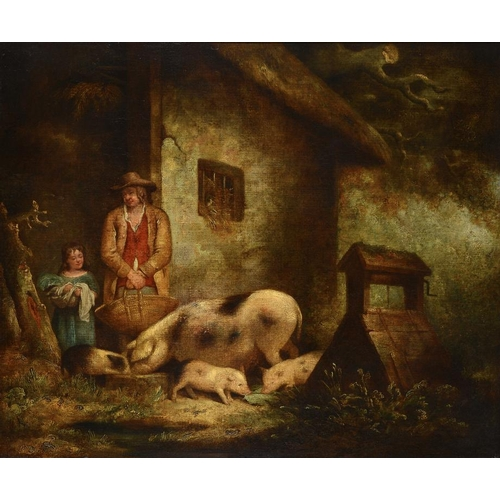 628 - FOLLOWER OF GEORGE MORLAND TENDING THE PIGS  oil on canvas, 61.5 x 74.5cm