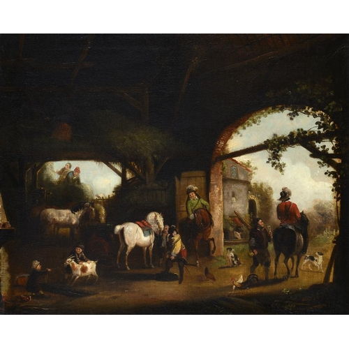629 - DUTCH SCHOOL, EARLY 19TH CENTURY  CAVALIERS DEPARTING FROM A BARN; ELEGANT COMPANY AND ATTENDANTS IN...