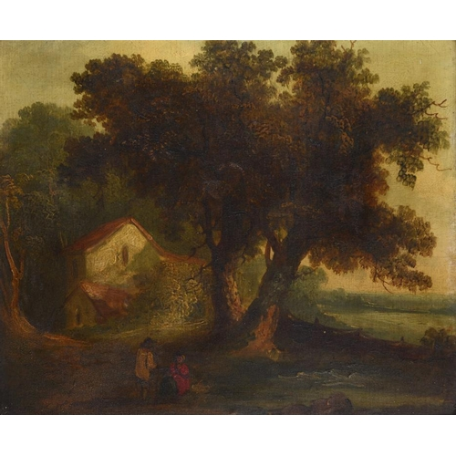 632 - ENGLISH SCHOOL, 19TH CENTURY WOODED LANDSCAPE WITH RUSTICS  oil on board, 21.5 x 26cm
